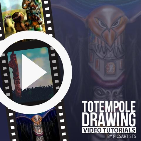totem pole drawing  time-lapse video tutorials