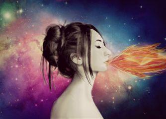 edited fire galaxy colorful artisticselfie