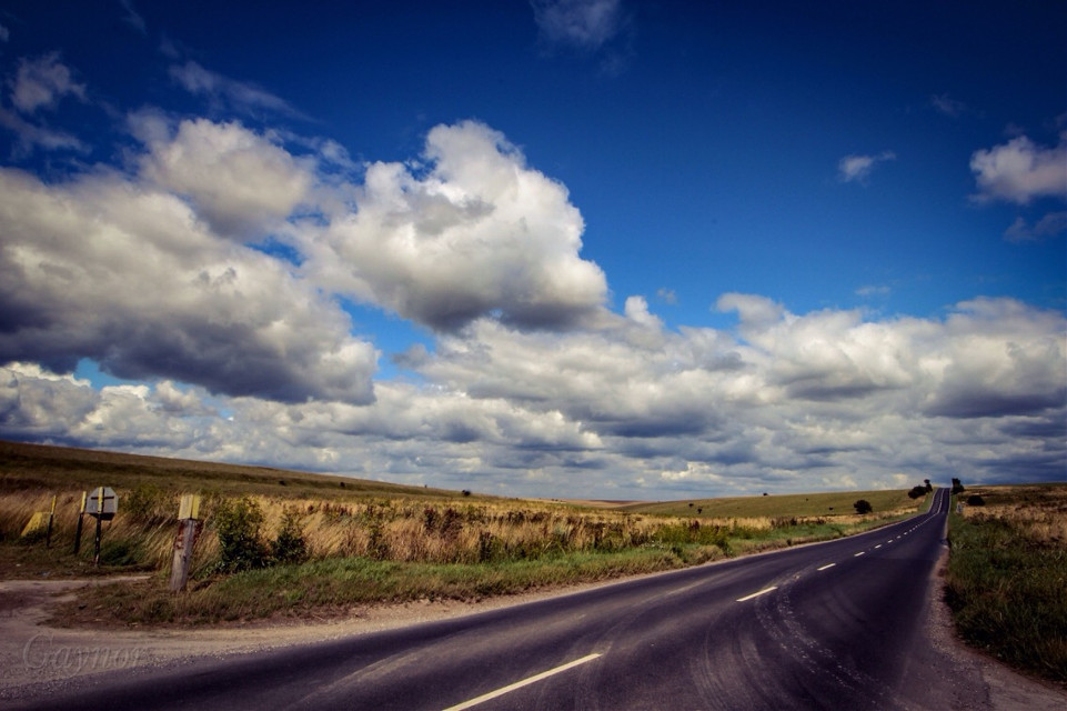 A fine day and an open #road makes it worth having a dusty desk for... #blue #clouds #notraffic!
