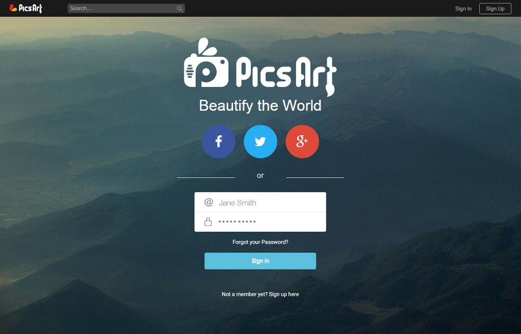PicsARt sign in