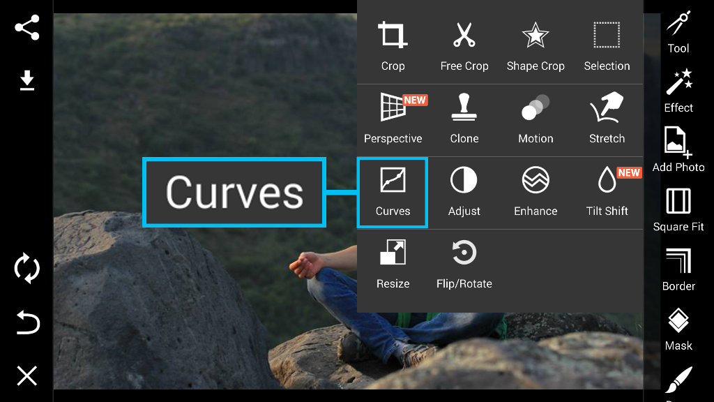 Curves tool in Photo editor